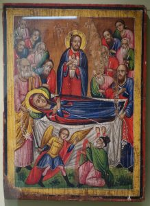 Dormition of the Mother of God Melkite icon late 18th century pigment on panel Huntington Museum of Art DSC04815
