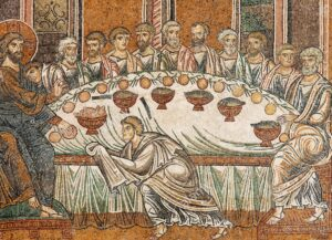 jesus and his disciples during the last supper byzantine gold ground E2H9RN